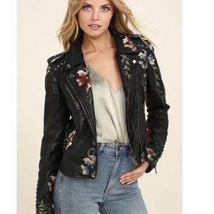 BLANK NYC Vegan Leather Floral Moto Jacket